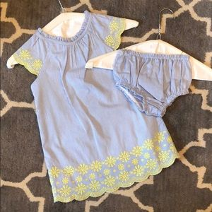 Toddler Kate Spade blue/white dress w/ flowers